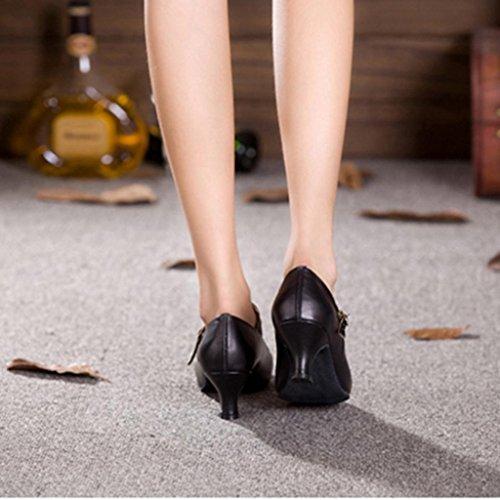 Wgwioo Ladies Carattere Stage Heel Dance Shoes Tutte Le Misure Women Ballroom Mary Jane Latin Tango Salsa Dancewear Black