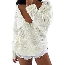 Femmes V Neck Top Pull,Reaso Pull à manches longues en vrac Jumper Tricots Outwear