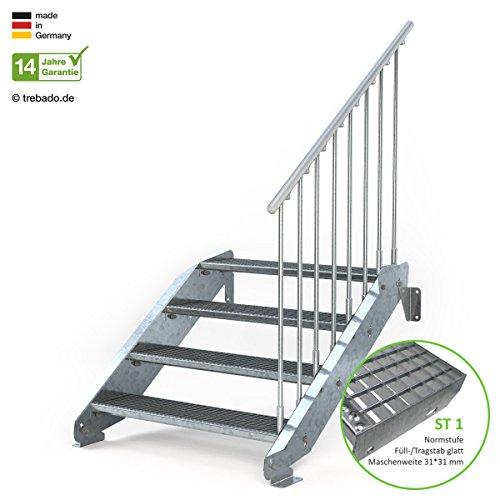 Gitterroststufe ST3 Anstellh/öhe variabel von 42 cm bis 64 cm Au/ßentreppe 3 Stufen 100 cm Laufbreite ohne Gel/änder feuerverzinkte Stahltreppe mit 1000 mm Stufenl/änge als montagefertiger Bausatz