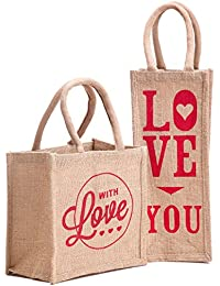 H&B Beautiful, Trendy & Stylish Beige Color Jute Handbag/Quality Lunch Bag/Gift Bag, Love Bag For Valentine Gift...