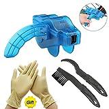 JTENG Fahrrad Kettenreinigungsgerät,Reinigung Scrubber Pinsel-Werkzeug im Set mit Ritzelbürste,2 Paar Latexhandschuhe,Schnelles sauberes Kettenreiniger Werkzeug Fahrrad Kettenreinigung