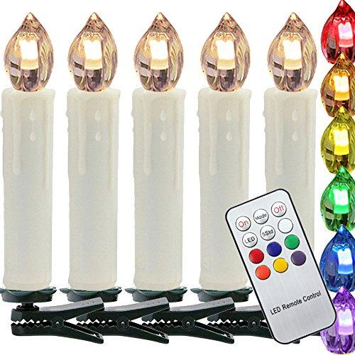 HJ® 50er LED Weihnachtskerzen RGB Weihnachtsbeleuchtung Lichterkette, mit Infrarot Funk Fernbedienung, Kabellos, Clip Grün