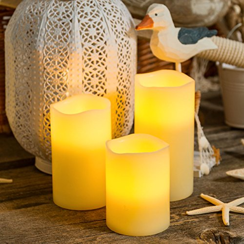 Pack 3 velas cilindro de cera a pilas Ø 7,5 cm, LED luz cálida, telecomando on/off, luces a pilas, luces de Navidad, velas LED
