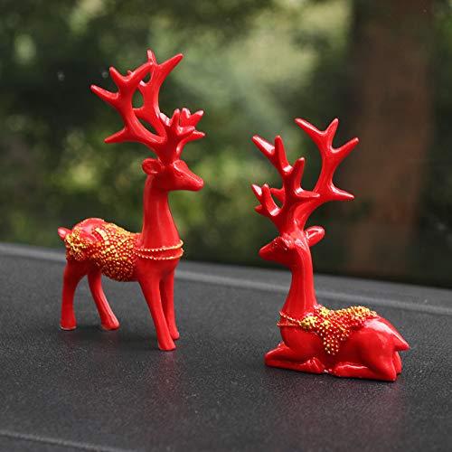 OKJK Home Dress, Car Supplies Auto Dekoration Auto Auto kreativ die ganze Weise Frieden Hirsch Dekorationen niedlichen Topfpflanzen, große rote 1 Paar (Paar Raumdekorationen)