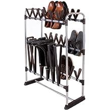 StorageManiac Zapatero para 24 pares de zapatos y 3 pares de botas, ahorrador de espacio, Negro
