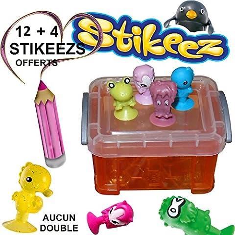 STIKEEZ, BOITE DE 12 FIGURINES + 4 offert (AUCUN DE DOUBLE) ANIMAUX ALÉATOIRE RENTRE TOUS DANS LA BOITE.