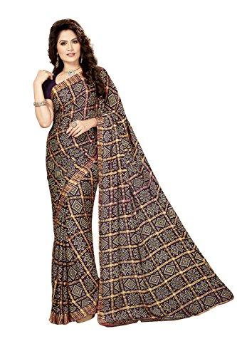 Rani Saahiba Crepe Georgette Gharchola Printed Bandhej Saree ( SKR3567_Purple )  available at amazon for Rs.649