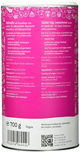 Puderxucker (Erythrit) 700 g in Dose | Puderzuckerersatz mit Erythrit: kalorienfrei | ohne Gentechnik | vegan | 70 {0e6532fa52f16832aaca4459dc7fc4774eaa77af4c550be27d7f6043c633e873} Süßkraft von Zucker | Ideal zum Backen