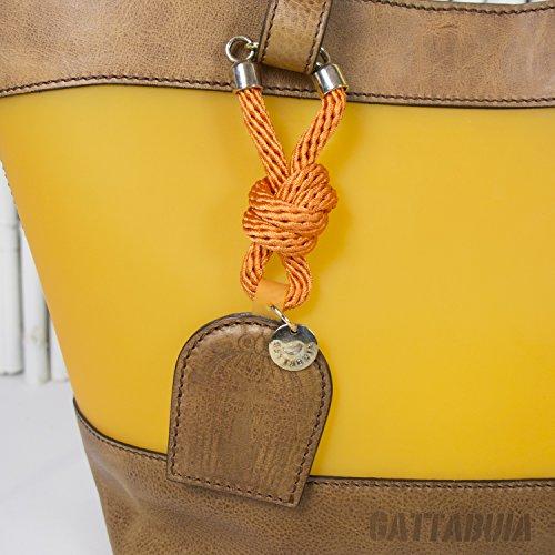 Gattabuia - borsa Laura in pelle e pvc Caramello-Nespola