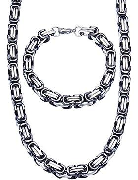 Jewow Schmuck Edelstahl 8mm Breite Halskette und Armkette Set für Herren - Armband 21,5cm ,Halskette 60cm