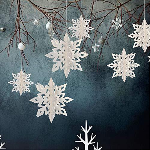 Hffan 6-teiliges Set Weihnachten Schneeflocke Anhänger Hauptdekoration Partydekoration Türverzierung Fensterdekoration Wanddekoration Weihnachten(Weiß,25x2&20x2&15x2(cm))