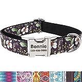 Vcalabashor Personalisiertes Hundehalsband mit Hundename und Telefonnummer/Strapazierfähiger Stoff mit Mode-Muster und Metallschnallen/Für große und extra große Hunde/Schwarze Blume