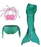Le SSara Sea-maid trajes de baño sirena concha traje de baño 3pcs Bikini las niñas establece (110, D rosa+verde)