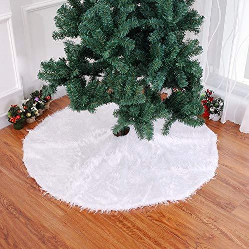 QIAOQ Falda de árbol de Navidad Alfombra de árbol de Felpa Blanca ...