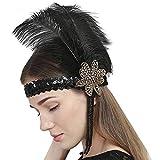 Femme Coiffure Vintage Bandeau Plume de Paon avec Plume Strass Décoration de Cheveux Déguisement de fête Bandeau de Danseuse de Charleston...