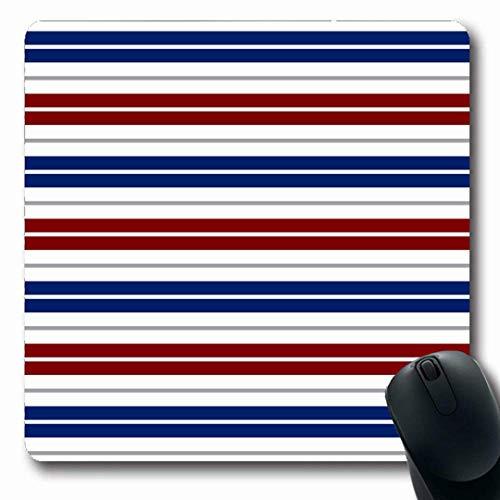 Luancrop Mousepads Juli Marine Nautisch Rot Blau Weiß Grau Streifen Regierung Abstraktes Muster Royal Barber Politik rutschfeste Gaming-Mausunterlage Gummi Längliche Matte