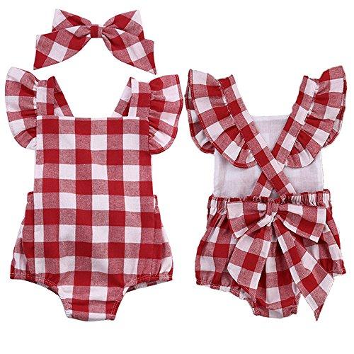 n 2 Tlg Gitter Bowknot Shorts Strampler + Haarnadel Kostüm Für 0-18 Monate Bekleidungsset (Rot, 3-6 Monat) (Baby 0 6 Monate Kostüme)