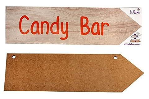 Flèche phrase en bois avec vinyle adhésif CANDY BAR 50,5
