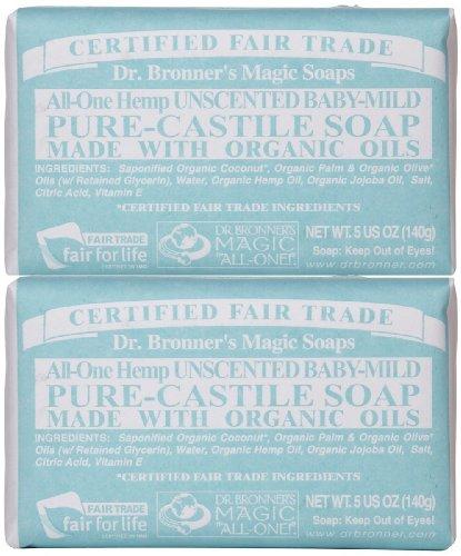 Baby Mild Bar Soap (Dr. Bronner's Organic Pure Castile Bar Soap, - Baby-mild - 5 oz - 2 pk by Dr. Bronner's)