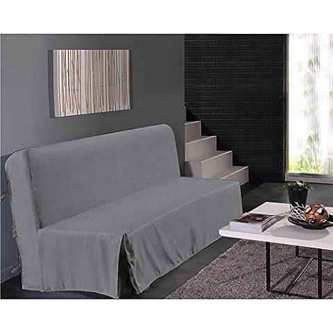 Housse de clic clac aspect lin - gris - Dimensions : 140x200