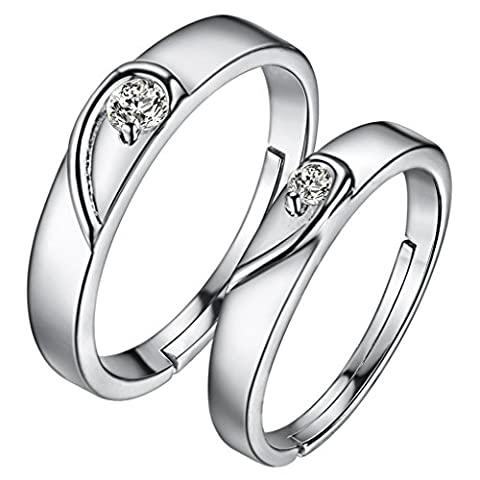 hmilydyk 1Paar Classic Forever Diamant Band verstellbar Paar Ring 925Sterling Silber Hochzeit Ring Set
