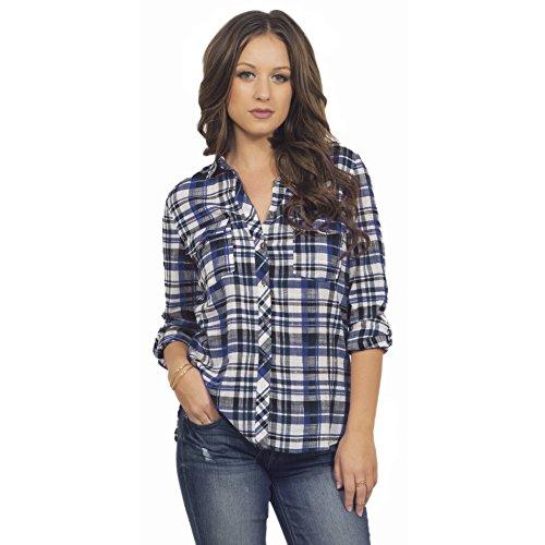 Les femmes shirt col classique patte manches longues en coton Brilliant Bleu