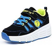 KE Los niños unisex de luz LED zapatillas con ruedas de Zapatos Auto-párrafo noche de los deportes de los zapatos corrientes