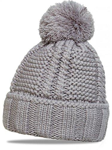 CASPAR MU127 Gefütterte Damen Bommelmütze, Farbe:grau;Größe:One Size