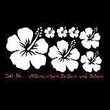 Auto Aufkleber Hibiskus Blumen Set 01 PKW KFZ (Weiß)