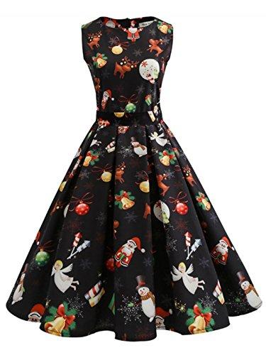 Caissen Damen Vintage 50er Rockabilly Weihnachten Kleid Rundhals Retro Cocktailkleid Swing Partykleid Schwarz-A Größe S
