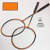 4 tlg. Federball Badminton Set 2 Schläger 1 Feder Ball Tasche Freizeit Hobby Sport Spiel 1 von 3 (Orange)