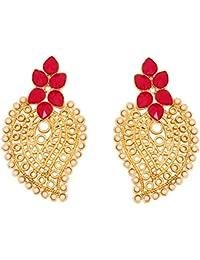 Piedra de toque de la India Bollywood perlas sintética Ruby con Paisley Diseño joyas pendientes en tono de oro antiguo