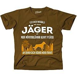 Siviwonder Unisex T-Shirt JÄGER MÜNSTERLÄNDER Kleiner GROßER Hund kennt Plätze niemand findet Brown XL