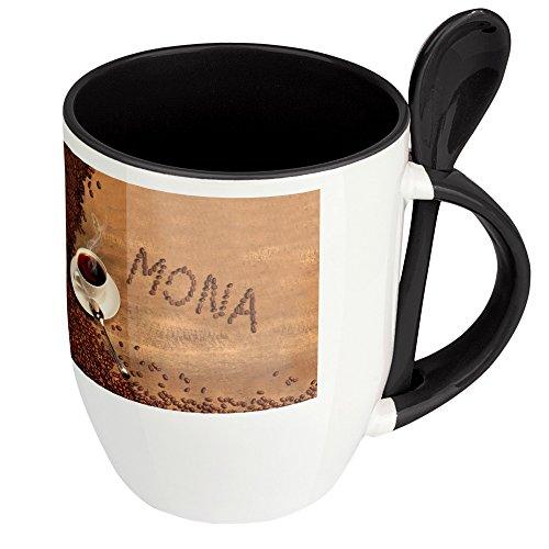Namenstasse Mona - Löffel-Tasse mit Namens-Motiv Kaffeebohnen - Becher, Kaffeetasse, Kaffeebecher,...