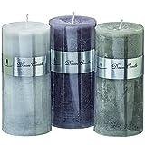 Dapo 3 x Kerzen im Set sortiert Dekokerzen Wachs grau Tischdekoration Beleuchtung Geschenk (15 x 7cm)