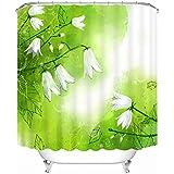 KKLL Cortinas de ducha Poliéster 3D Flores blancas Tres dimensiones Impresión A prueba de agua y el moho Decoración de baño espeso cortado Cortina colgante , 200*180cm