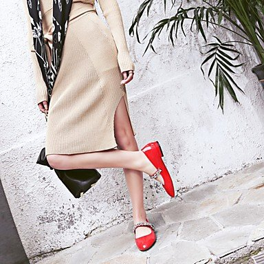 Confortevole ed elegante piatto scarpe donna Appartamenti Primavera Estate Autunno La comodità di vacchetta Outdoor Office & Carriera Vestito Nero Blu Rosso Black