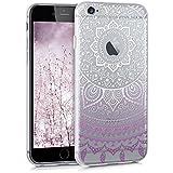 kwmobile Crystal Case Hülle für Apple iPhone 6 / 6S aus TPU Silikon mit Indische Sonne Design - Schutzhülle Cover klar in Violett Weiß Transparent