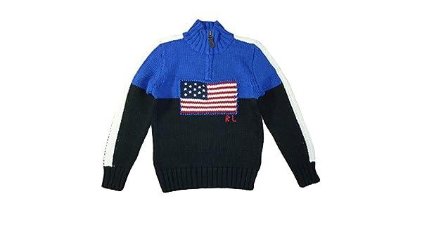 Ralph Lauren Polo Pull tricoté pour enfant Drapeau Américain Bleu Garçon 116   Amazon.fr  Bébés   Puériculture e5162c56af9