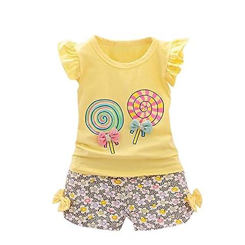 Ensembles Shorts et Haut Bébé Fille, Bestop T-shirts et Shorts Pour Enfant Filles 1-4 Ans (2-3 Ans, Jaune)