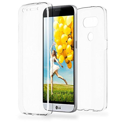 Double Case für LG G5 | Silikon Hülle Transparent Beidseitiger Schutz | Dünne 360° Full Handy Tasche von OneFlow | Back Cover in Farblos