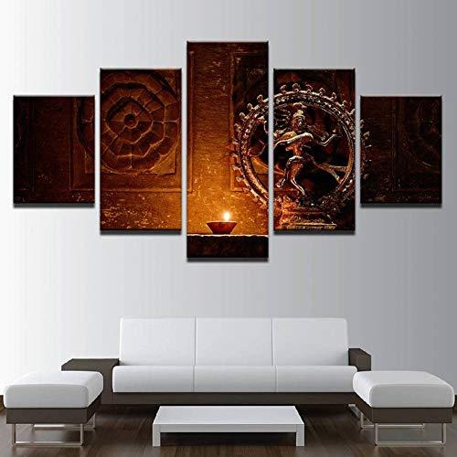 WOKCL Stampa su Tela Poster Modern Wall Art Prints Type 5 Panel Statue  Indian God Immagine d'Epoca Decorazioni per La Casa Soggiorno
