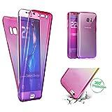 Handytasche f�r Samsung Galaxy S9, CESTOR  Dual-Layer 360 Grad Luxus Durchsichtig TPU Gradient Farbe Kratzfest Schutzh�lle f�r Samsung S9, Pink+Lila Bild