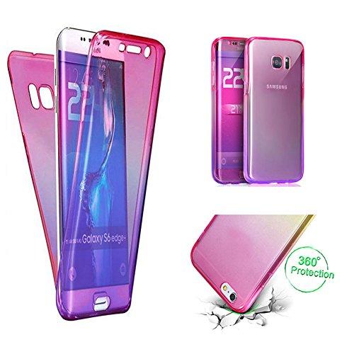 Handytasche für Samsung Galaxy S7, CESTOR [Ultra-Weiche Clear Silikon] Dual-Layer 360 Grad Luxus Durchsichtig TPU Gradient Farbe Kratzfest Schutzhülle für Samsung S7, Pink+Lila -