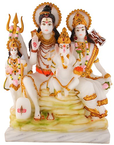 Divine Gifts Shiv Parivar Marble Marble Idols for Pooja Room 12 inch (Multicolor) (White)