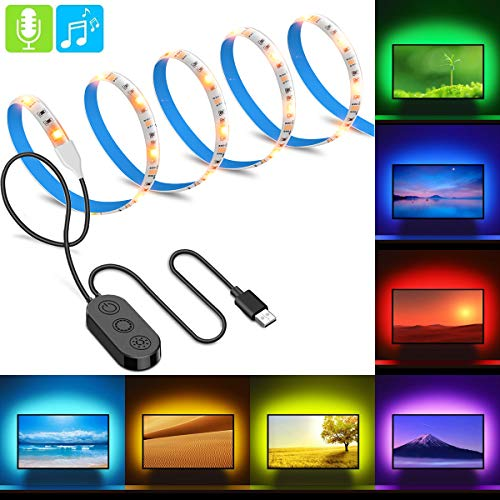 2m LED Tira USB Para TV, Minger Tira Leds Lluminación Excelente Impermeable, 5050 Colores RGB Retroiluminado Música Micrófono con Controlador con Cable USB y 8 Colores, Perfecto para Hogar