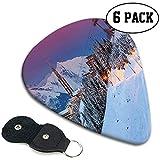 Plettri per chitarra 6 pezzi, Ma-jestic Paesaggio invernale all'alba e Stazione sciistica Abete Pineta Alpi francesi