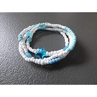 Armband Böhmische Glasperlen Perlenarmband Handarbeit elastisch Stretch Wickelarmband Aqua blau weiß hellblau retro Sommer Gipsy Hippie Boho