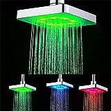 GuDoQi 3 Farben Ändern LED Dusche Kopf Bad Regendusche Kopf Wasserfall Dusche Kopf 6 Zoll Quadrat Temperatur Kontrolle