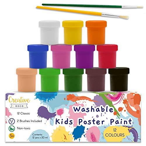 Creative Deco Kinder-Farben Fingerfarbe Bastel-Farbe Plakat-Farbe Set   20 ml x 12 Mehrfarbige Becher   Grund, Leuchtstoff, Glitzer, Metallic & Neonfarben   Perfekt für Anfänger Studenten Künstler